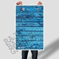Jual ALAS FOTO BLUE RUSTIC  WOOD 50cm x 100cm  (Lebih Besar dari A2 & A1) Murah