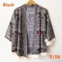 Jual cardigan kimono katun batik rumbai jepang style harajuku etnik hitam Murah