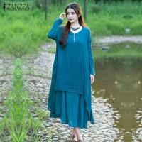 ZANZEA Women Dress Vintage Cotton Maxi Long Dresses Plus Size Import
