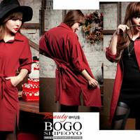 Jual Promo ! Dress Kemeja Obi FT dress wanita katun rayon merah Murah