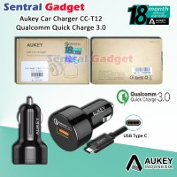 Car Charger Aukey CC-T12 Qualcomm Quick Charge 3.0 + Kabel USB Type C