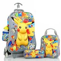 Jual Tas Troley Samurai 6 Roda 3 Dimensi Pokemon Go Pikachu Diskon Murah