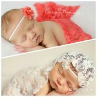 Jual New Baby newborn photo lace wrap bandana Murah