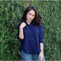 Jual gio basic shirt navy /casual dress /hem /myfriendstore Murah
