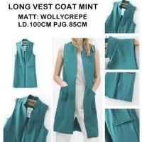 Jual Pakaian Wanita Cardigan Blazer Kaos Kemeja LONG VEST COAT MINT Model Murah