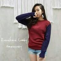 Jual Baju Pakaian Wanita Kaos Blouse Round Hand Combi Maroon Navy Sweater Murah