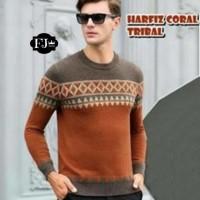 Jual Baju Pakaian Atasan Pria Jaket Kaos  Harfiz Tribal Coral Murah