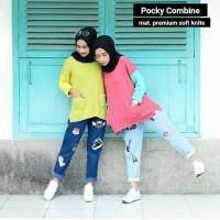 Jual Baju Pakaian Wanita Kaos Blouse Pocky Combine Sweater Atasan Simple Murah