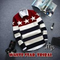 Jual Baju Pakaian Atasan Pria Jaket Kaos  White Star Tribal Murah