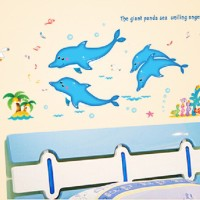 Jual WALLSTICKER/WALL STIKER-50X70-AM7068-FOUR BLUE DOLPHIN Murah