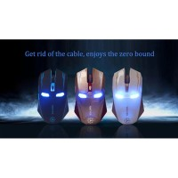 Jual NAFEE Iron Man Wireless Mouse Gaming Mute Button Silent Click 2.4Ghz Murah