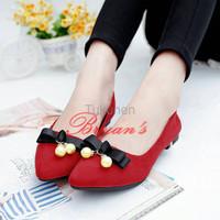 Jual Sepatu Wanita Cewek Flat Shoes Lonceng Mutiara Merah Murah