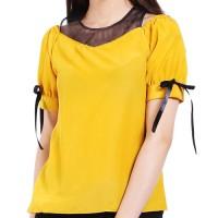 Baju Atasan Wanita Blouse Cewek Kuning Sabrina Kombinasi Tile Clo128