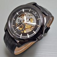 Jual Jam S11 Jam Tangan Pria Cowok Rolex Skeleton BigSize Gear Leather Ful Murah