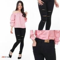 Jual Celana Ripped Skinny Jeans Hitam Wanita Destroyed Denim JUMBO JSK 2188 Murah