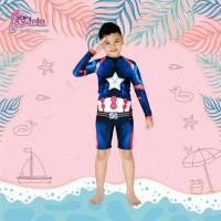 Jual Swimwear kostum karakter superhero captain america size 5tahun-12tahun Murah
