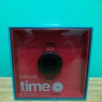 Pebble Watch 14 Time Round Black Smartwatch 14mm - Merah Hitam