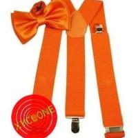 Jual suspenders dasi kupu set orange import Murah