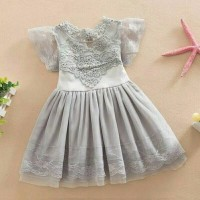 Gaun Katun Tulle Berenda Motif Bunga Anak Perempuan