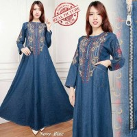 Jual maxi dress dora gamis jeans bordir Murah