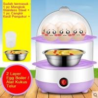 Jual 2 Susun Alat Kukus Steamer Listrik 2 Layer Mini Steamer Egg Boiler Murah