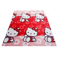 Jual Selimut Bulu Karakter Hello Kitty - Merah Murah