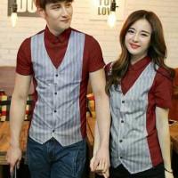 Jual Kemeja Couple Lengan Panjang Baju Pasangan  Hem  Vest Venny maroon Murah