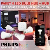 Jual Lampu Led Wireless Warna - Philips Hue Set Free Bridge (3 Led 1Bridge) Murah