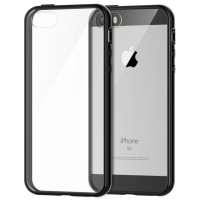 iBuy IPhone 5 5s 5 SE Bumper2 Black Rubber Case With Clear Back Mika