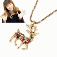 Jual DIJUAL Kalung Rusa Deer Emas Gold Pesta Branded Diamond Korea Panjang Murah