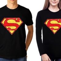 Fancy Shirt/TUMBLR TEE COUPLE (Long for lady) SUPERMAN LOGO Black