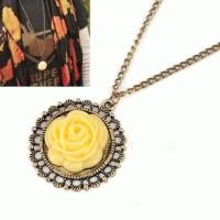 Jual JUAL Kalung Bunga Flower Etnik Kuning Yellow Pesta Hijab Fashion Murah
