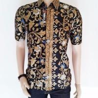 kemeja batik pria motif bunga emas BATIK PEKALONGAN