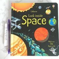 Buku USBORNE Look Inside space melatih anak untuk mengenal bnda langit