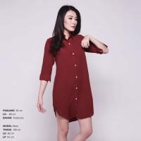 Jual Boxy Long Line Shirt / Dress Kerah / Terusan Kerah Murah