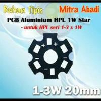 Heatsink Star PCB 1W-3W Hitam Aluminium BAHAN TIPIS Diameter 20 mm