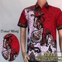 Jual 3131 batik pria lengan pendek motif blok 3 wayang arjuna  Murah