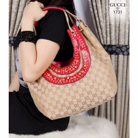 Jual New Collection Gucci Studded Fringe Hobo Bag Canvas vs Smooth leather  Murah