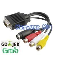 Kabel VGA (rgb) to 3 RCA Audio Video Composite Female + 1 S-Video