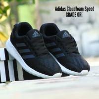 Sepatu Sport Adidas Cloudfoam Speed GRADE ORI /Hitam Black/Running Gym