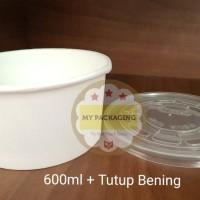 Paper Bowl/Paper Cup/Sup Bowl/Mangkuk Makan 600ml + Tutup Bening