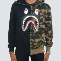 Jaket Sweater BAPE HALF Shark Full Zip Hoodie Black Green Premium