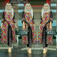 setelan muslim hijab batik bunga slit blouse bluss celana panjang