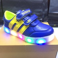 Sepatu Anak LED Adidas Import Real picture foto produk asli- Biru