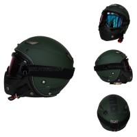 Helm JPN Momo Goggle Mask Retro Jap Style Shark Raw Rainbow Hijau Doff