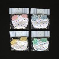 MIYO 4 Set Sarung Tangan & Kaos Kaki Rib Bayi/Baby Polkadot (0-3M)