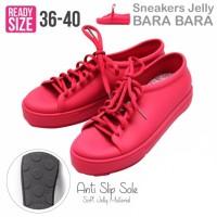 Jual Bara Bara Jelly Sneakers Silikon Shoes Cewek Silicone Kets -Red Maroon Murah