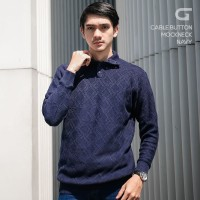 Sweater Rajut Pria Gomuda - Cable Button Mockneck Navy
