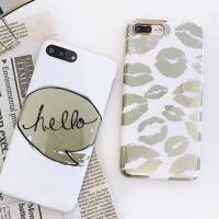 iPhone Case Casing Gold White Kiss Lip Lips Hello 6/7/8/x