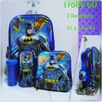 Jual Tas Sekolah Anak 2 Resleting Batman 7D 4 In 1 Murah